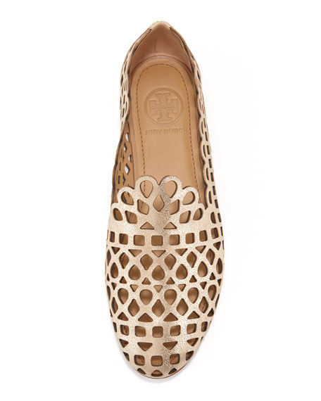 Laser Cut Gold Platinum: Tory Burch Fiona Laser-Cut Smoking Slipper, Platinum