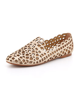 Tory Burch Fiona Laser-Cut Smoking Slipper, Platinum