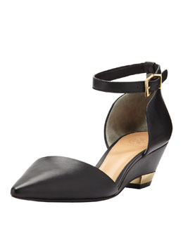Tory Burch Mackenna Pointed-Toe Micro Wedge Pump, Black