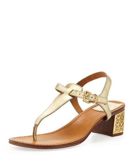 6cd13e04c397 Tory Burch Audra Leather Plate-Heel Thong Sandal