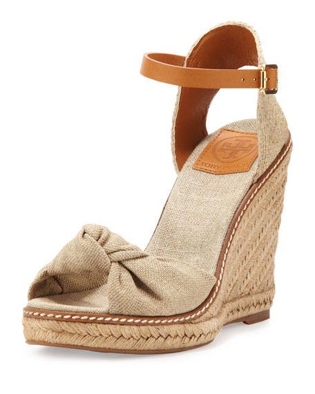 Macy Linen Espadrille Wedge, Gold Wash