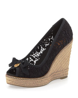 Tory Burch Jackie Lace Espadrille Wedge, Black