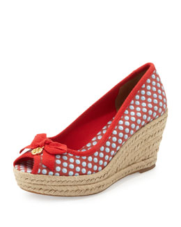 Tory Burch Jackie Peep-Toe Canvas Wedge, Red