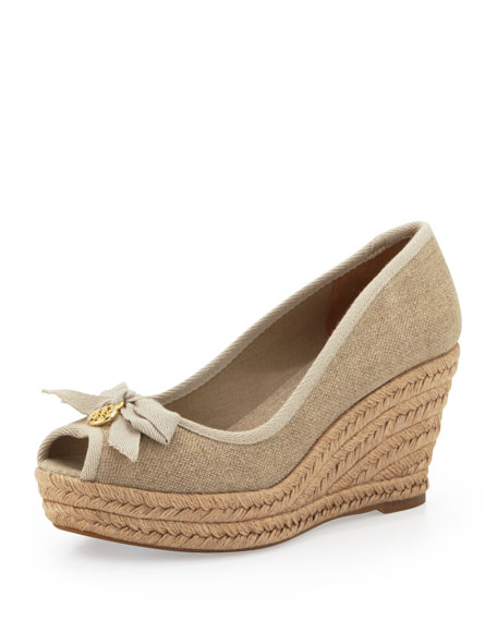2ec6ff8834aca Tory Burch Jackie Peep-Toe Wedge with 3