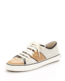 Tory Burch Churchill Striped Suede Sneaker, Ivory/Honey/Black