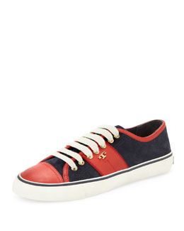 Tory Burch Churchill Striped Suede Sneaker, Navy/Ivory/Red