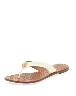 Tory Burch Thora 2 Patent Thong Sandal, Bleach