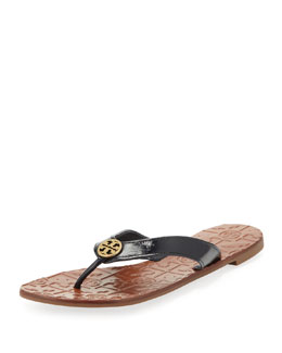 Tory Burch Thora 2 Patent Thong Sandal, Bright Navy