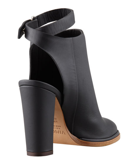 Joanna Ankle-Strap Leather Bootie, Black