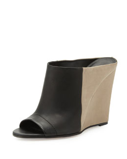 Vince Karin Colorblock Wedge Slide, Black/Woodsmoke