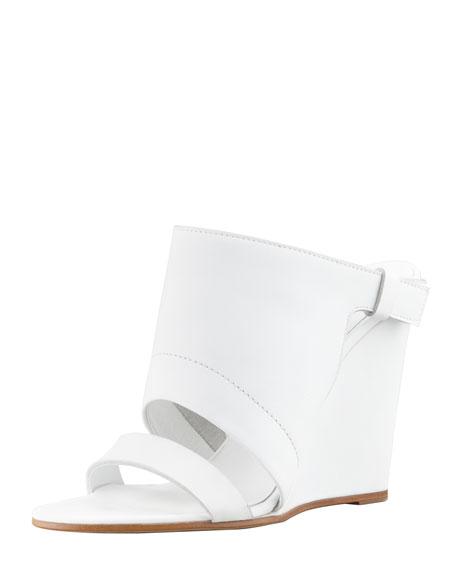 Kasia Leather Wedge Slide Sandal, White