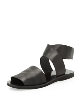 Vince Sabine Leather Ankle-Wrap Sandal, Black