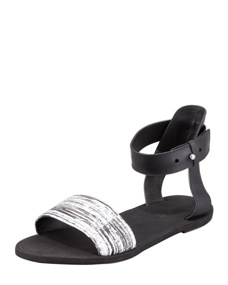 Sawyer Striped-Snake Ankle-Wrap Sandal
