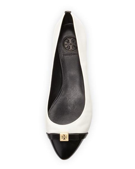 Hugo Point-Toe Ballerina, Ivory/Black