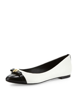 Tory Burch Hugo Point-Toe Ballerina, Ivory/Black