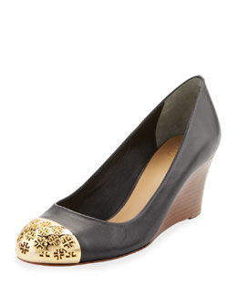 Tory Burch Cami Wedge with Logo Cap-Toe