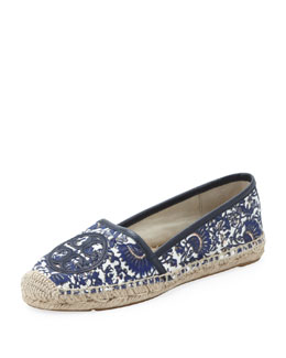 Tory Burch Antigua Printed Flat Espadrille, Navy