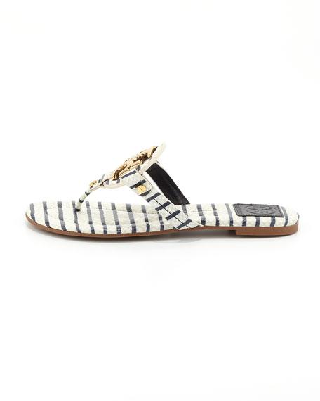 Miller2 Snake-Print Thong Sandal, Navy/White