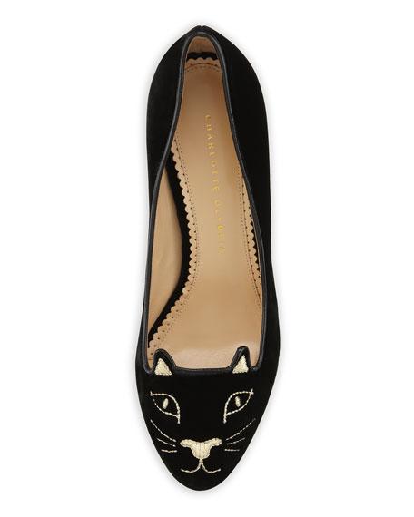 Kitty Cat-Embroidered Velvet Pump, Black