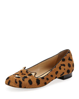 Kitty Cat-Embroidered Calf Hair Slipper, Leopard