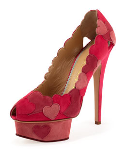 Love Me Heart-Applique Pump, Fuchsia