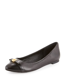 Tory Burch Hugo Cap-Toe Ballerina Flat, Black
