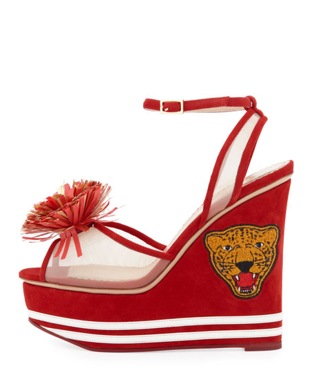 Team Spirit Varsity Suede Wedge Sandal, Cherry