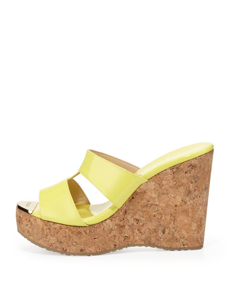 Porter Patent Leather Wedge Sandal, Yellow