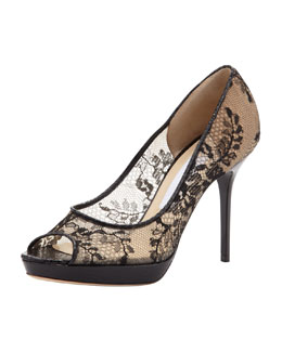 Jimmy Choo Luna Lace Platform Pump, Black