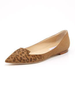 Jimmy Choo Attila Leopard-Toe Suede Flat, Brown
