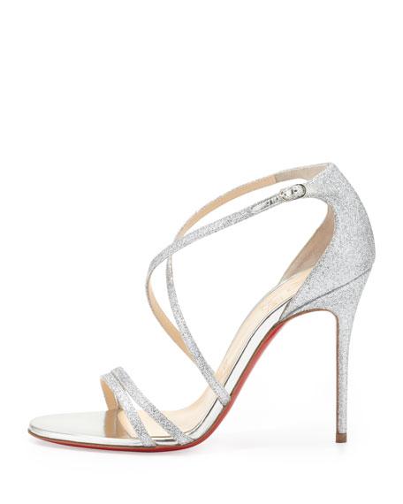 Gwynitta Glitter Open-Toed Sandal, Silver