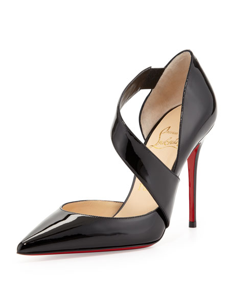 Ograde Cross-Strap Red-Sole Pump, Black