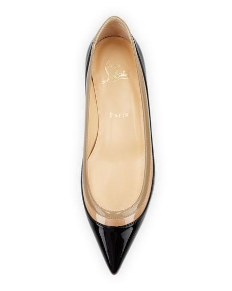 Christian Louboutin Paulina Pointed-Toe Ballet Flat, Black/Beige
