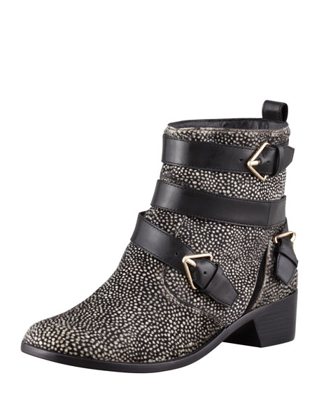 Colleen Printed Calf Hair Boot, Black/White