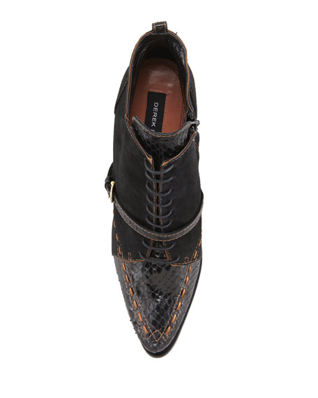 Donya Snake & Suede Lace-Up Bootie, Black