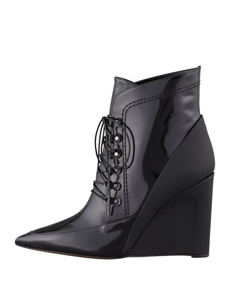 Maxine Calfskin & Rubber Lace-Up Wedge