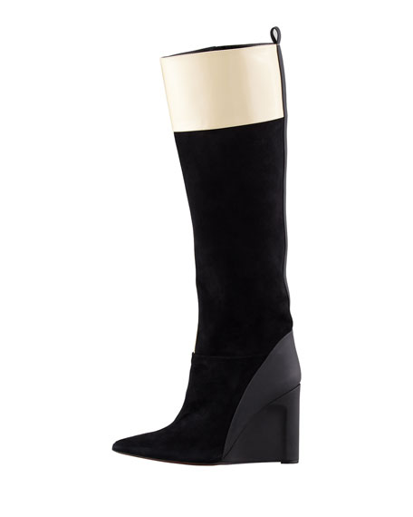 Mila Suede & Leather Wedge Boot, Black/Toffee