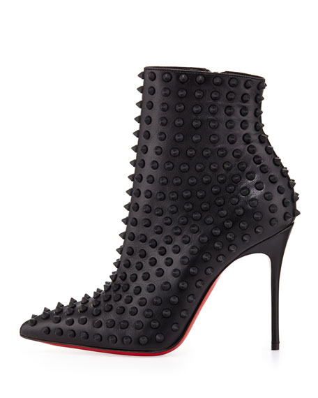 Snakilta Spiked Red Sole Ankle Boot, Black Matte