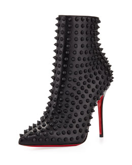 Christian Louboutin Snakilta Spiked Red Sole Ankle Boot, Black Matte