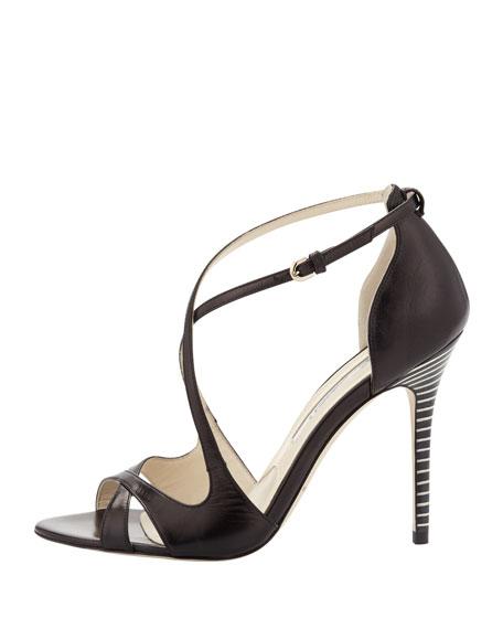 Striped-Heel Crisscross Sandal