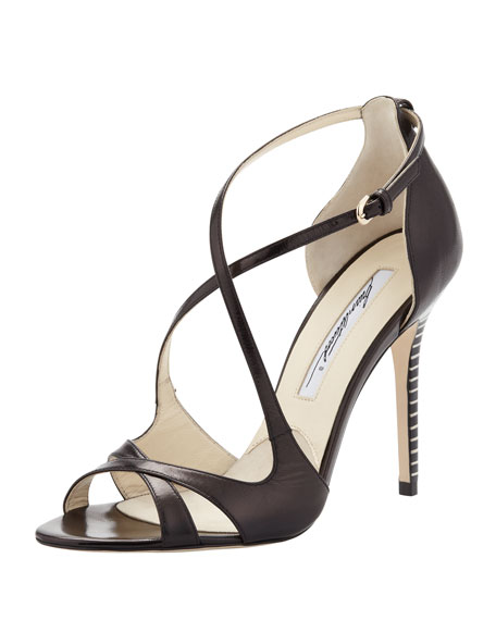 Striped-Heel Crisscross Sandal