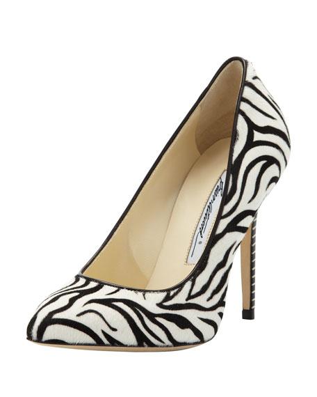 Zebra Calf-Hair Point-Toe Pump