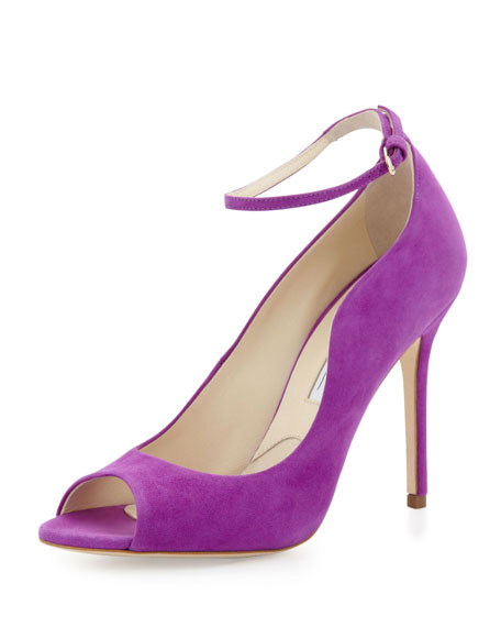 Open-Toe Ankle-Wrap Suede Pump, Purple