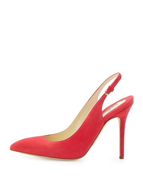 Suede Pointed-Toe Slingback Pump, Pink