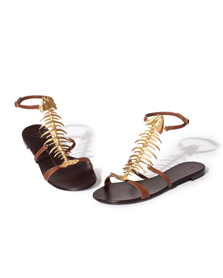 Fish Bone Flat Sandal, Brown/Gold