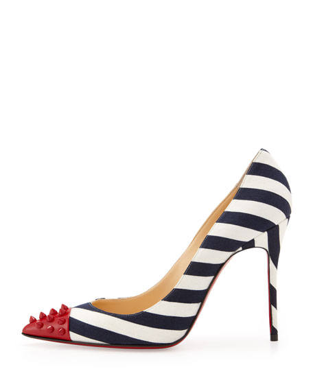 Geo Spike Point-Toe Striped Pump, Red/Navy