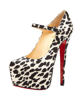 Christian Louboutin Lady Daf Leopard Mary Jane Red Sole Pump