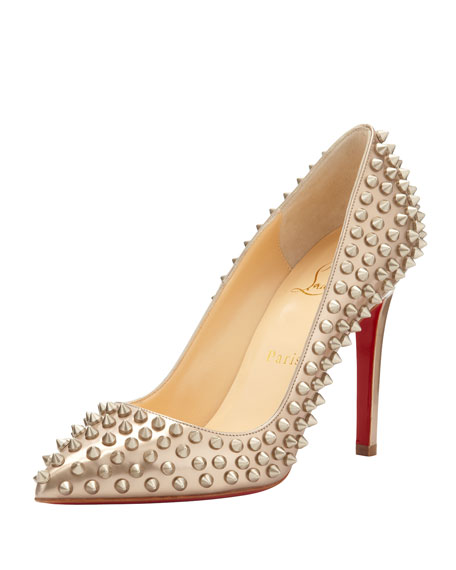 Pigalle Spikes Red Sole Pump, Beige/Gold