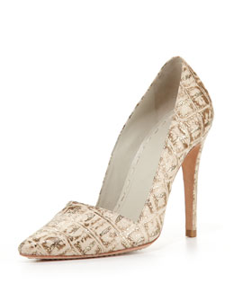 Alice + Olivia Dina Metallic Crocodile-Embossed Pump