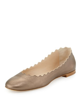 Chloe Scalloped Metallic Ballerina Flat, Silver